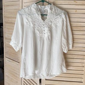 Lace cut out white blouse by Lucky - size medium